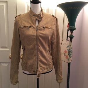 Jackets & Blazers - Moto bomber military faux microsuede tan jacket